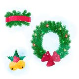 элемент дизайна ветвей Мех-дерева Венок и смычок, красная лента, колоколы рождества Иллюстрация штока