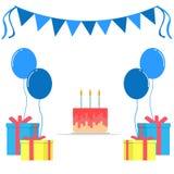 Элемент поставки дня рождения в плоском стиле бесплатная иллюстрация