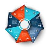 Элемент семиугольника вектора для infographic Стоковые Фото