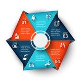 Элемент шестиугольника вектора для infographic Стоковые Фото