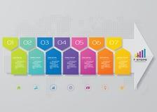 элемент Infographic знамени стрелки 7 шагов для представления иллюстрация штока