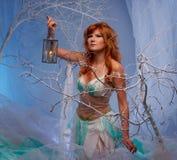 Эльф женщины с фонариком Стоковое фото RF