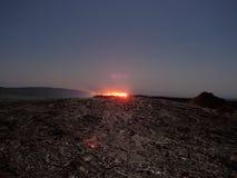 Эль Erta озера Lave вечером стоковая фотография