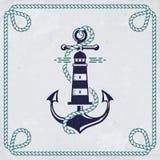 Эмблема вектора с анкером и маяком Морское знамя иллюстрация вектора
