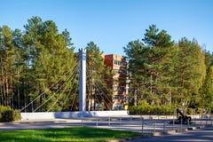 Эмблема городка мемориальная Visaginas Литвы с символом аиста и годом 1975 учреждения стоковые изображения