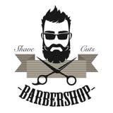 Эмблема значка ярлыка парикмахерской винтажная классическая Иллюстрация вектора логотипа джентльмена хипстера античная иллюстрация штока