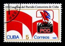 Эмблема конгресса, 3-ее serie конгресса Коммунистической партии, около 1986 Стоковое Изображение RF
