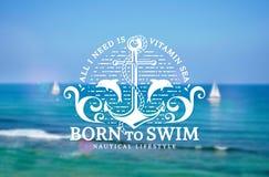 Эмблема моря с анкером и дельфинами на запачканной предпосылке Стоковая Фотография