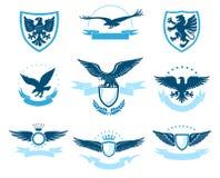 Эмблема орла установила на белую предпосылку бесплатная иллюстрация