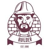 Эмблема построителя на предпосылке кирпичной стены иллюстрация вектора