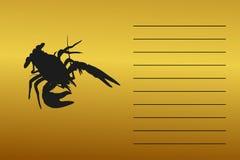 Эмблема, силуэт рака моря реки С космосом для текста Стоковое Изображение