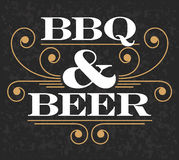 Эмблема барбекю & пива Стоковое Изображение RF