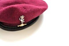 Эмблема великобританских авиадесантных войск на maroon берете Стоковые Фото