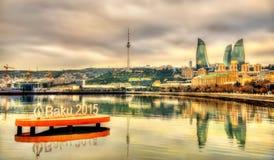 Эмблема 'игр Баку 2015' европейских в Каспийском море около Баку 7-ого января 2016 Стоковая Фотография RF