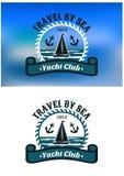 Эмблема или значок яхт-клуба Стоковое Изображение RF