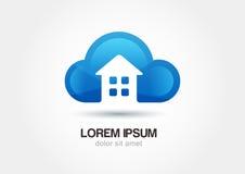 Эмблема облака с силуэтом дома Абстрактное te значка логотипа вектора Стоковые Изображения