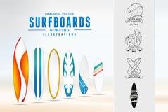 Эмблема логотипа иллюстрации эскиза занимаясь серфингом с Стоковое фото RF