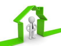 Эмблема дома с человеком 3d Стоковое Изображение RF