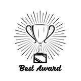 Эмблема победителя ретро Значок трофея чашки Иллюстрация вектора на белизне Стоковые Фото