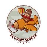Эмблема поставки с усмехаясь пилотом Стоковая Фотография
