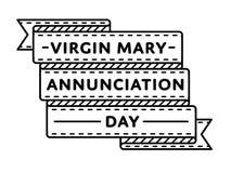 Эмблема приветствию дня аннунциации девой марии Стоковая Фотография