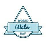Эмблема приветствию дня воды мира Стоковая Фотография
