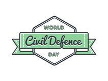 Эмблема приветствию дня гражданской обороны мира Стоковые Фото