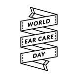 Эмблема приветствию дня заботы уха мира Стоковое Изображение
