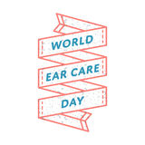 Эмблема приветствию дня заботы уха мира Стоковая Фотография RF