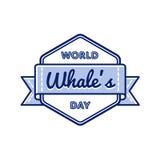 Эмблема приветствию дня китов мира Стоковая Фотография