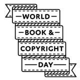 Эмблема приветствию дня книги и авторского права мира Стоковая Фотография