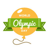 Эмблема приветствию дня мира олимпийская Стоковые Фото