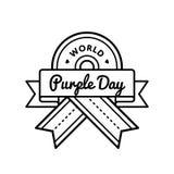 Эмблема приветствию дня мира фиолетовая Стоковое Изображение