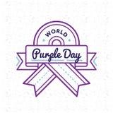 Эмблема приветствию дня мира фиолетовая иллюстрация вектора
