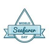 Эмблема приветствию дня моряка мира Стоковые Фото