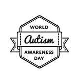 Эмблема приветствию дня осведомленности аутизма мира Стоковое Изображение