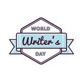 Эмблема приветствию дня писателей мира Стоковое Изображение