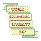 Эмблема приветствию дня разнообразия форм жизни мира Стоковое Изображение RF