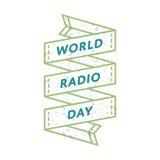 Эмблема приветствию дня радио мира Стоковая Фотография