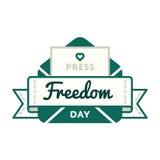 Эмблема приветствию дня свободы печати Стоковые Фотографии RF