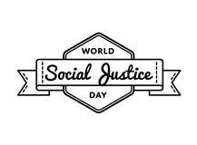 Эмблема приветствию дня социальной справедливости мира Стоковое Фото