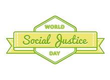 Эмблема приветствию дня социальной справедливости мира Стоковое Изображение RF