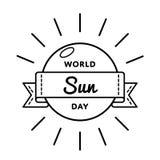 Эмблема приветствию дня Солнця мира Стоковые Фото
