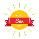 Эмблема приветствию дня Солнця мира Стоковая Фотография RF