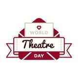 Эмблема приветствию дня театра мира Стоковое фото RF