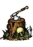 Эмблема хеллоуина с пнем ось и череп Стоковое Фото