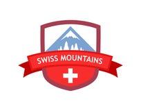 Эмблема швейцарских гор Стоковые Изображения