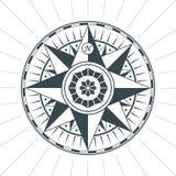 Эмблема ярлыка знака компаса винтажной старой античной розы ветра морская Стоковое Изображение