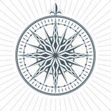 Эмблема ярлыка знака компаса винтажной старой античной розы ветра морская Стоковые Фото