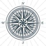 Эмблема ярлыка знака компаса винтажной старой античной розы ветра морская Стоковое фото RF